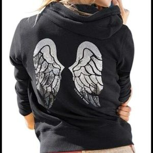 Victoria's Secret V Neck Hoodie with Sequin Wings